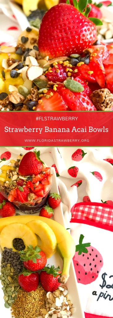 Strawberry Banana Acai bowls are the perfect use of frozen Florida Strawberries! They're a great way to pack in nutrition and antioxidants into breakfast, lunch, or an after school snack. Stock up on Florida Strawberries in March and freeze them to use in your Strawberry Banana Acai Bowls for months to come! #strawberryseason #strawberryrecipe #breakfastrecipes #breakfastideas #acaibowl