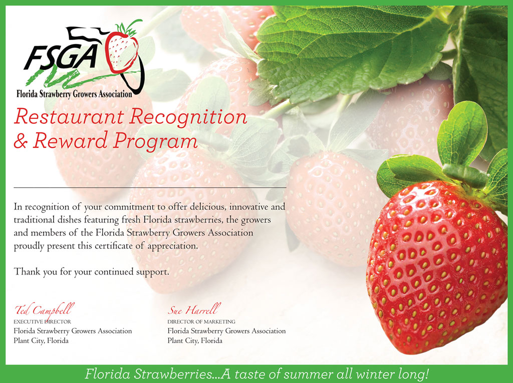 Restaurant Recognition Rewards Florida Strawberry