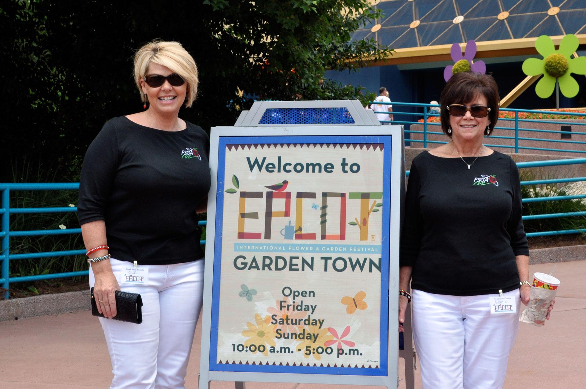Epcot Garden Town with Sue and Glenda