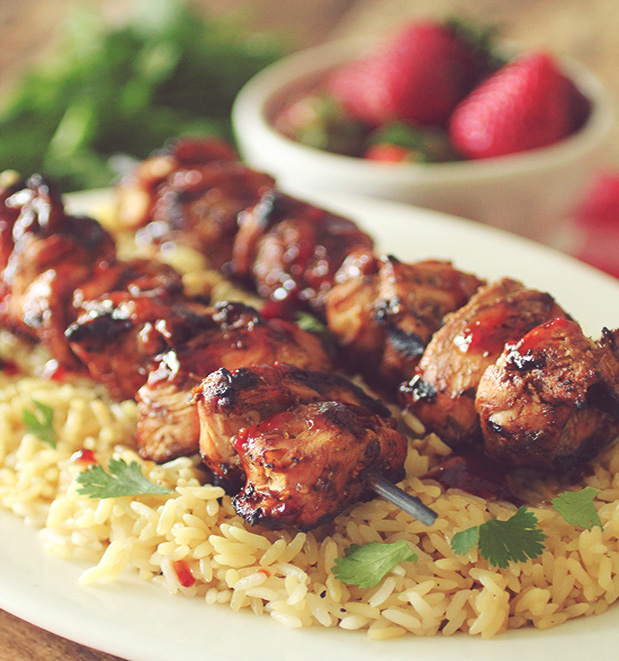 Grilled Strawberry Balsamic Chicken Kabobs from Katie Farrell