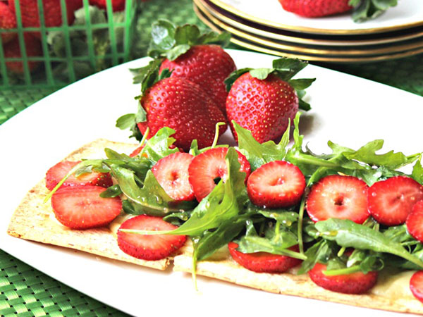 Strawberry Brie Flatbread Salad by Family Foodie