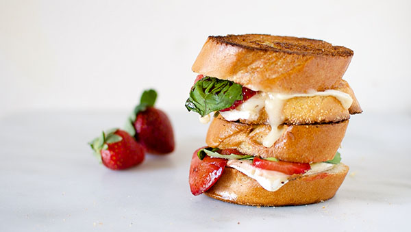 Savory Balsamic Roasted Strawberry and Basil Grilled Cheese by Pass the Sushi