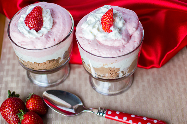 Dark Chocolate Strawberry Mousse Parfaits by Daily Dish Recipes