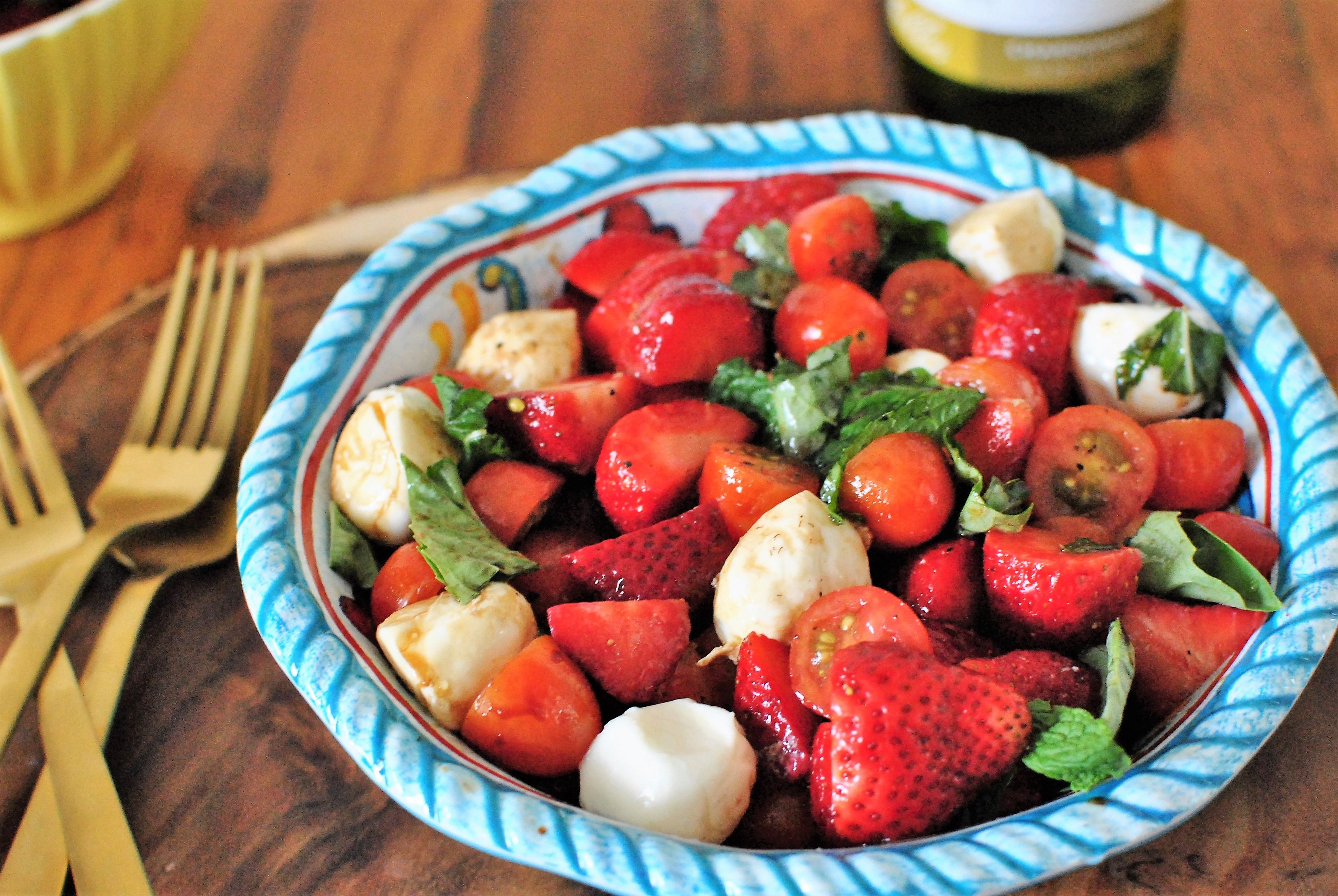 Strawberry Caprese Salad with Balsamic and Mint