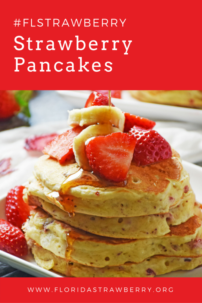 Strawberry Pancakes dotted with homemade dried strawberries and drizzled with pure maple syrup is a hearty and delicious way to start the day. This easy recipe is sure to be a family favorite!